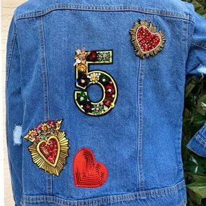 Jean jacket with appliques